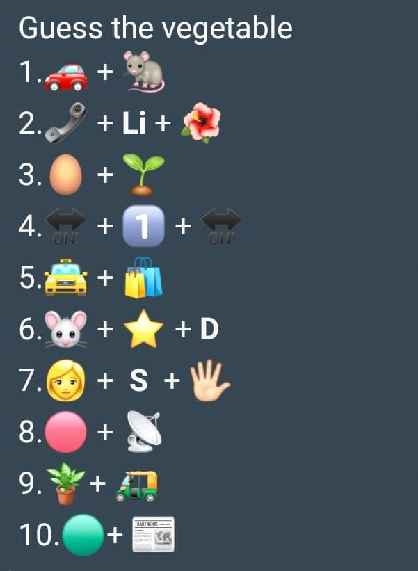 Whatsapp game - Guess the vegetable name