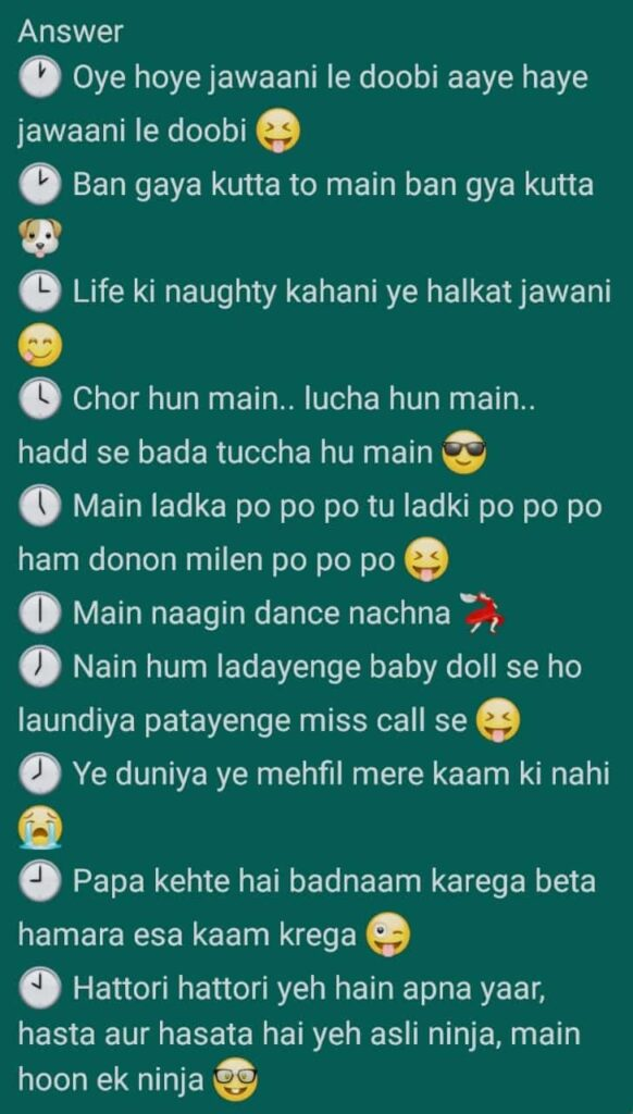 Whatsapp game guess the song answers